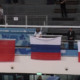 Sztafeta 4x100 metrów podczas ceremonii medalowej