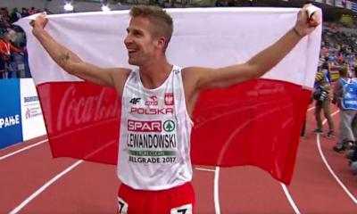 Marcin Lewandowski po zdobyciu medalu, Tomasz Lewandowski