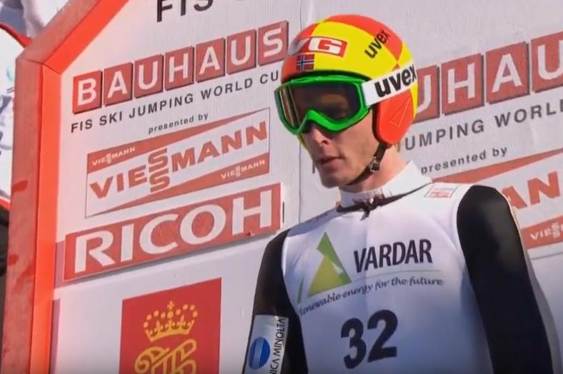 Johan Remen Evensen w trakcie konkursu w Vikersund