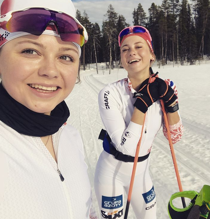 Monika Skinder i Izabela Marcisz na treningu