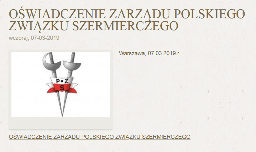 Polski Związek Szermierczy oświadczenie