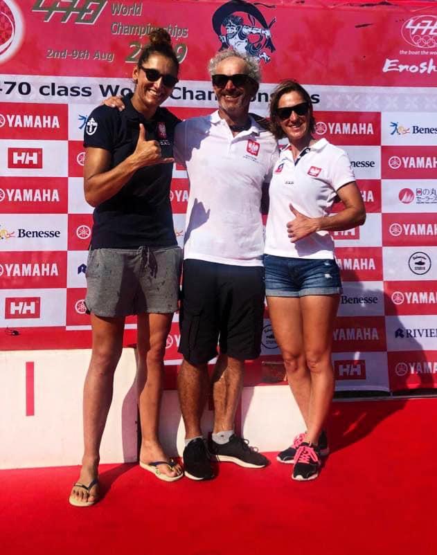 Jolanta Ogar, trener Zdzisław Staniul i Agnieszka Skrzypulec